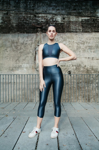 metallic grey Wet look high front crop top with v mesh insert at chest, action back, by gerry can