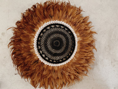 TAN + BLACK:  CROCHET CENTRED FEATHER JUJU WALL HANGING