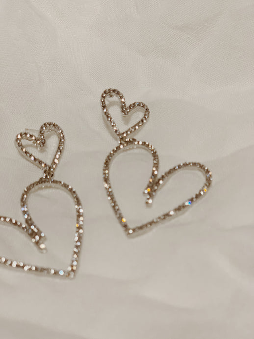Diamante Wild Heart Drop Earrings | By: Life in the sun store