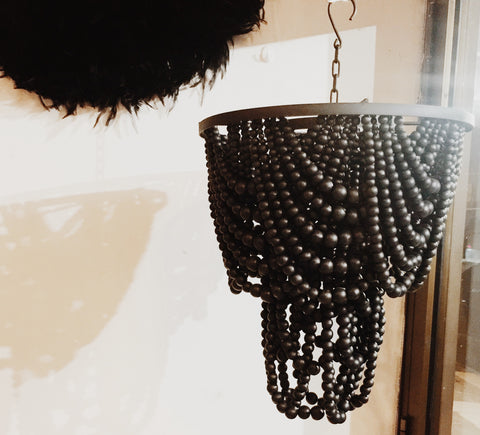 Drapery Black Beaded Medium size boho chandelier