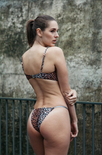 Load image into Gallery viewer, the Franky, leopard print underwire bikini with adjustable string tie bottoms