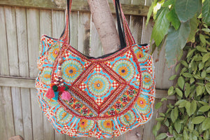 Embroidered Bag - Blue and Green