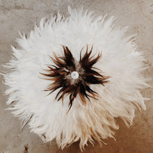 Load image into Gallery viewer, White and Tan Centred FEATHER JUJU HAT WALL HANGING DECOR