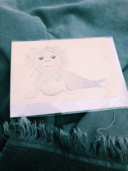 MERMAID SEAL HAND ILLUSTRATED CARD - ALL OCCASIONS CT14
