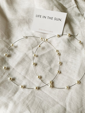 Maxi Dainty Pearl Hoops | By: Life in the sun store