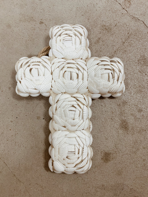 White Shell Decorative Cross Wall Hanging
