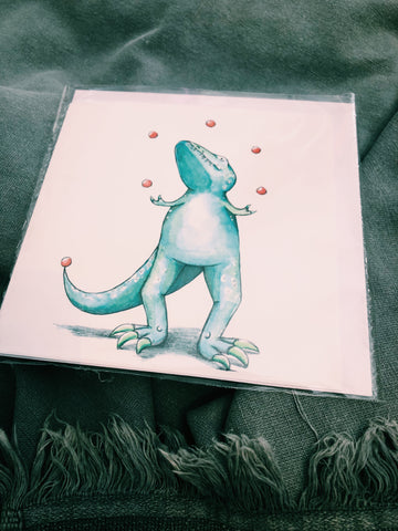 JUGGLING DINOSAUR HAND DRAWN ILLUSTRATIVE CARD - VAIR 3