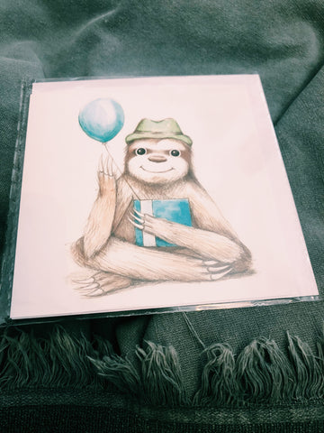 SLOTH BALLOON- HAND ILLUSTRATED CARD - VAIR 11