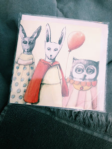 BUNNY + CAT + OWL - HAND DRAWN ALL OCCASSIONS CARD AP-21