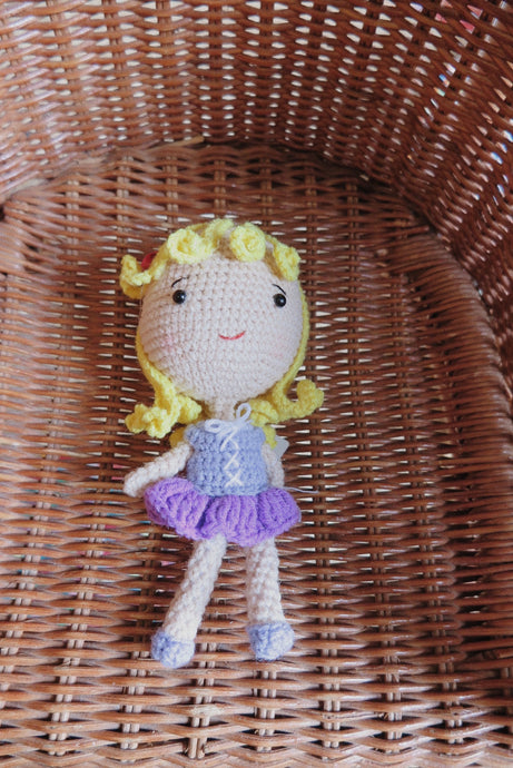 Purple Princess Crochet Doll