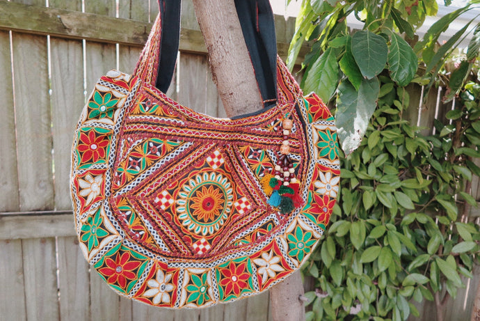 Embroidered Bag - Red + Green
