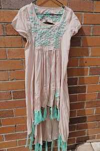 Nia Tan and Mint Embroidered Tassel Dress