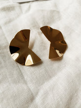 Load image into Gallery viewer, Semi Circle Fold Gold Stud Earrings | By: Life in the sun store