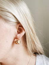 Load image into Gallery viewer, Modern World Round Gold Stud Earrings | By: Life in the sun store