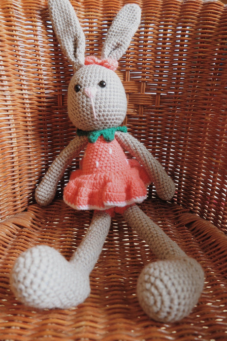Pink Strawberry Large Crochet Bunny Doll