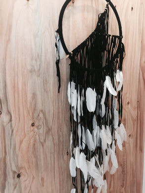 Black Mono Stick tassel feather  Dreamcatcher