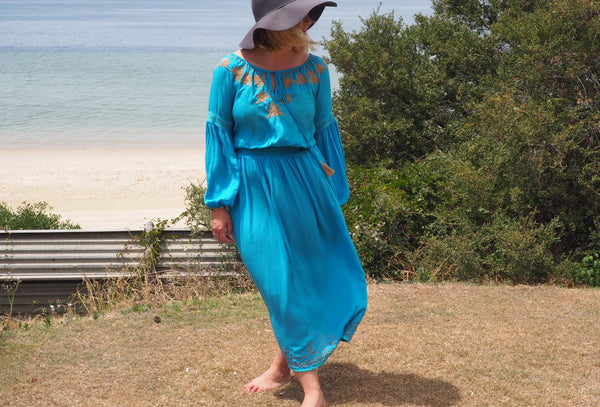 Chilla Long Sleeve Bloom sleeve Dress with Hand Embroidery -JUST IN! (Lagoon Blue)