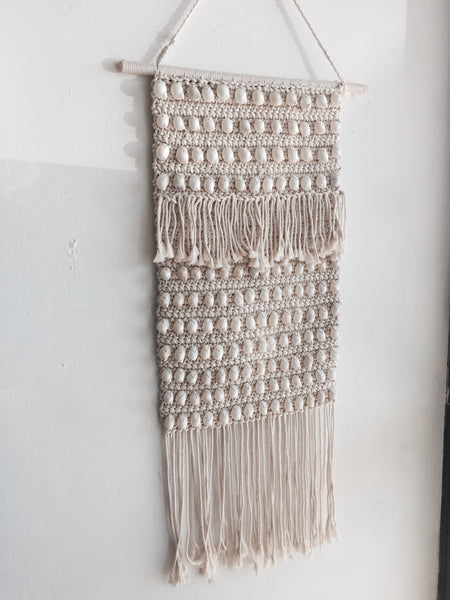 LONG SHELL KNOTTED MACRAME WALL HANGING