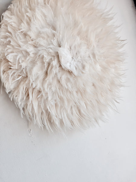 Natural White/ Cream Feather Juju Hat Wall Hanging