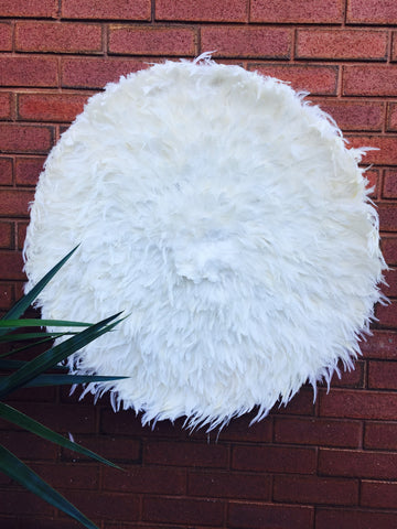 Giant Natural White FEATHER  JUJU HEADRESS WALL HANGING  DECOR HANDMADE