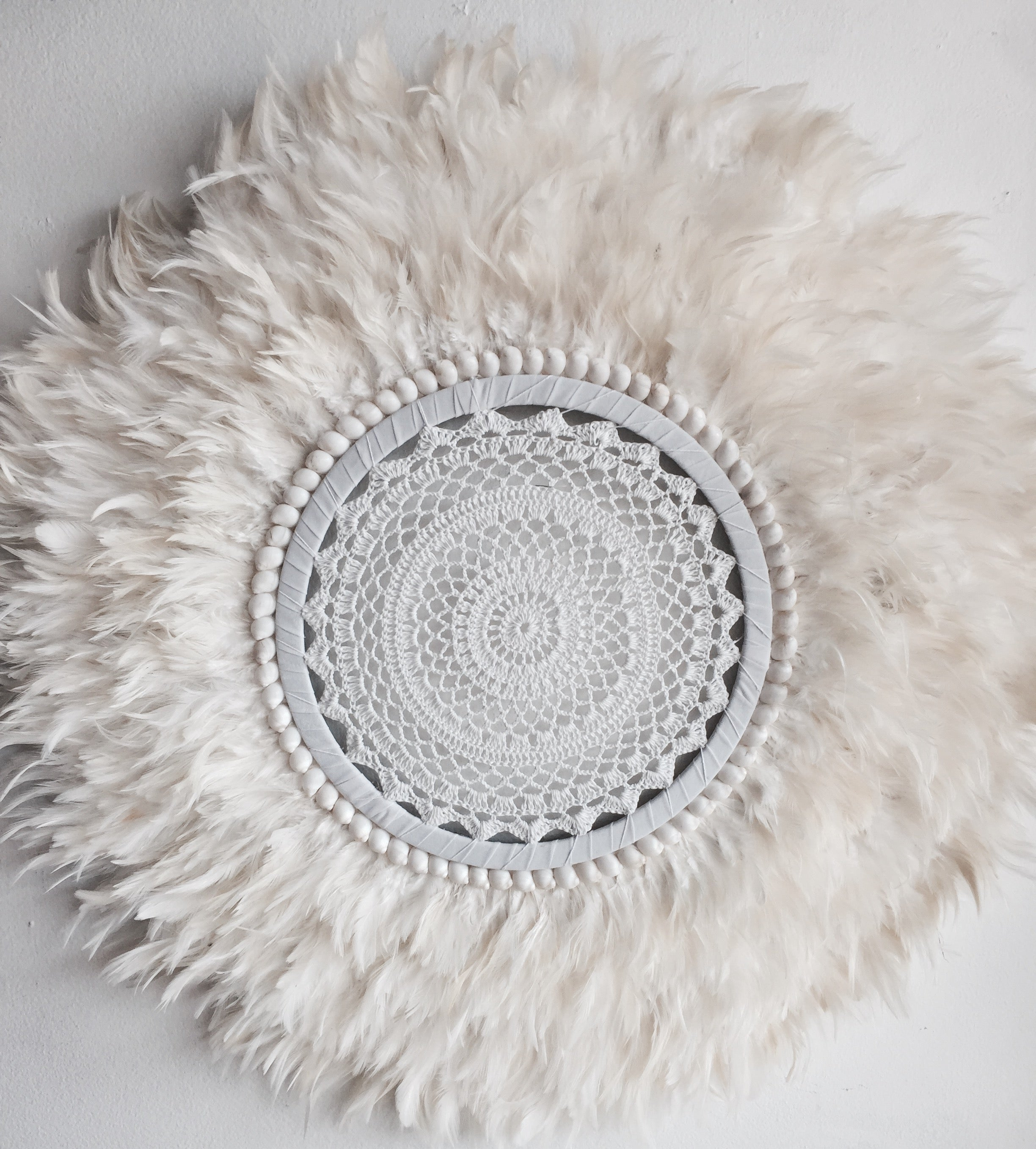 CROCHET CENTRE - (Classic knit crochet style )WHITE FEATHER SHELLS JUJU WALL HANGING