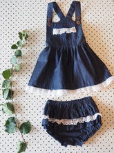 Load image into Gallery viewer, iluca the label | Vintage Rogue Denim and Crochet Pinafore with Crochet Detailing  - Baby and Toddler Size