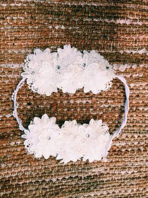 HandMade Lace Floral Diamante Head Piece