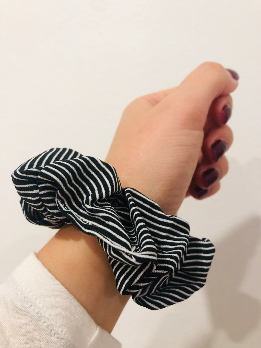 Black Pin Striped Scrunchie