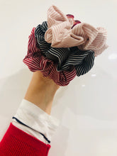 Load image into Gallery viewer, Black Pin Striped Scrunchie