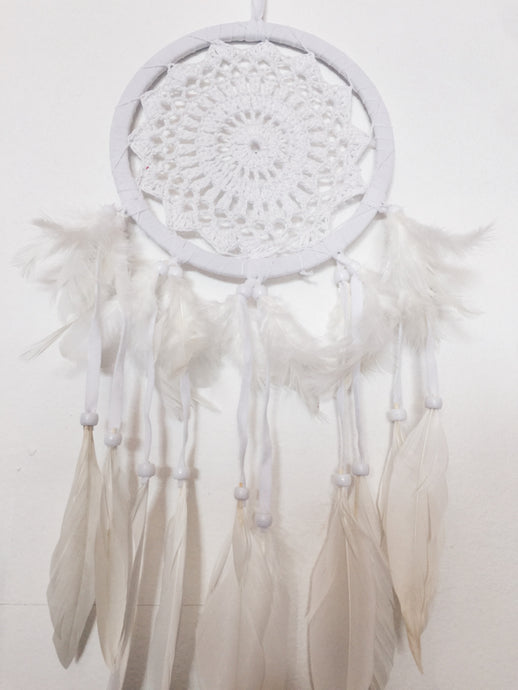 Mini- SMALL SIZE WHITE HAND CROCHET FEATHER DREAMCATCHER