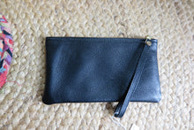 Load image into Gallery viewer, 'Elle Clutch ' FURLA BLACK Genuine Handmade Leather Clutch with Metallic Detailing