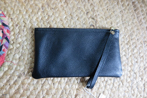 'Elle Clutch ' FURLA BLACK Genuine Handmade Leather Clutch with Metallic Detailing