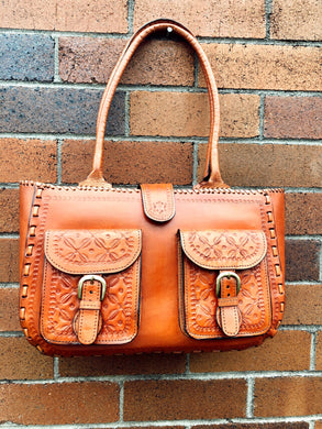 Vintage Style Genuine Leather Carry All Tote (Made in India)
