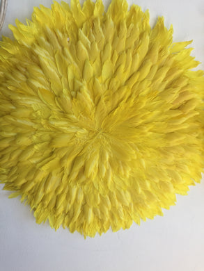 Yellow Feather Juju Hat Wall Hanging