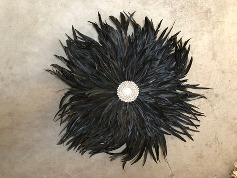 OSTRICH FEATHER AND SHELL FEATHER JUJU HEADRESS WALL HANGING