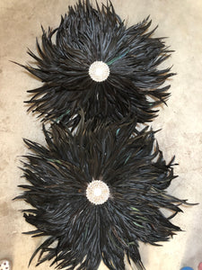 OSTRICH FEATHER AND SHELL FEATHER JUJU WALL HANGING