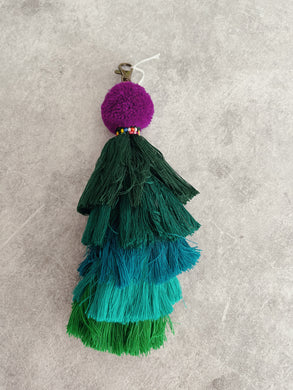 Shades of Green - Tribal Pom Pom Keyring