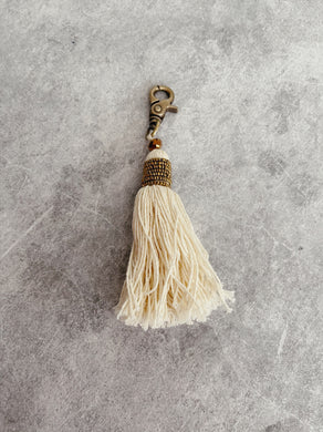 Natural Beaded Tassel Keyring