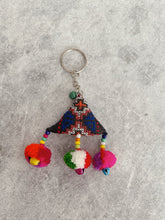 Load image into Gallery viewer, Handmade Embroidered Bell Keyring - Triangle (Green Bell)