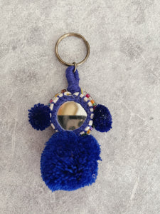 Freedom Rider Embellished Pompom Keyring -Royal Blue