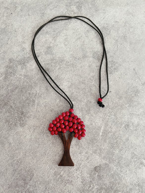 Hand Beaded + Leather Tree Necklace - Pink