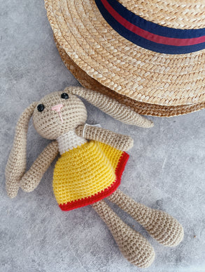 Mini Yellow Crochet Bunny Doll