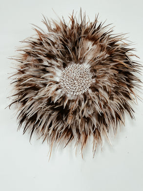 Multi Tones of Tan Feather Juju Wall Hanging- Middy size