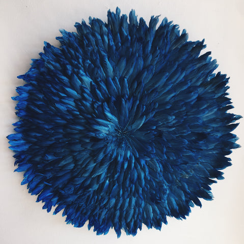 Deep Blue Juju Hat FeatherWALL HANGING DECOR HANDMADE