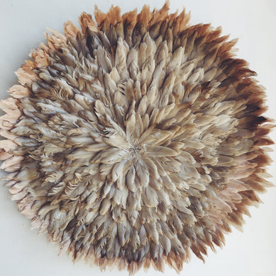 60cm round flat Beige feather juju wall hanging made of 100's of feathers for home decor