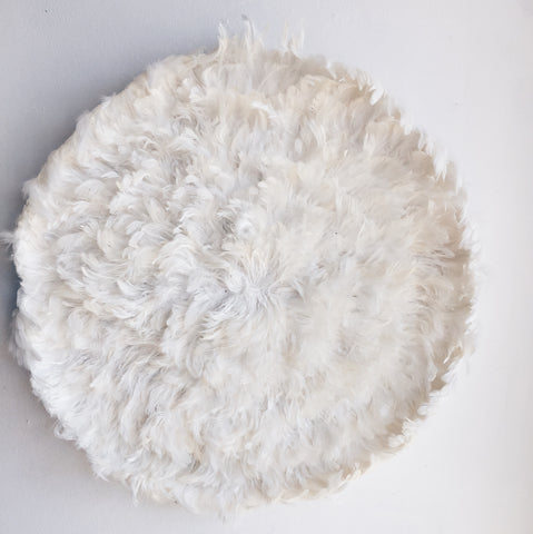 Natural White/ Cream Feather Juju Hat Wall Hanging- Handmade Decor