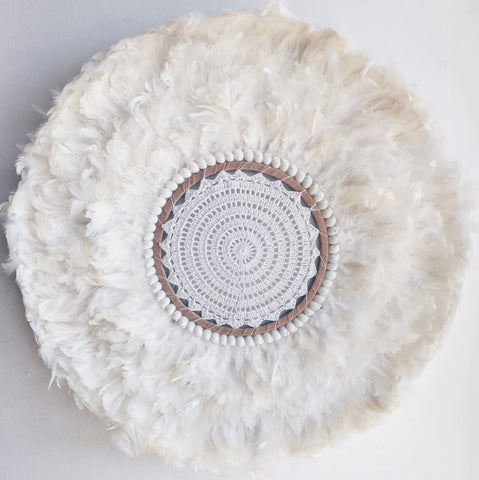 CROCHET CENTRE - (Tight knit crochet style )WHITE FEATHER SHELLS JUJU WALL HANGING