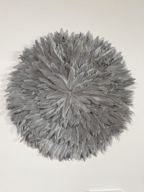 Mid Grey Feather Juju Wall Hanging -60cm
