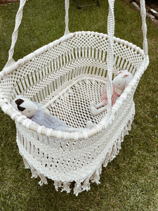 Macrame Baby Nursery Hanging Bassinet - Tight Knotted Style