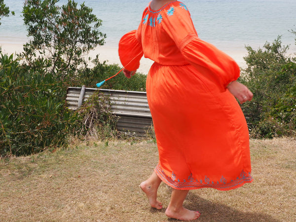 Chilla Long Sleeve Bloom sleeve Dress with Hand Embroidery -JUST IN! (Sommer Orange)